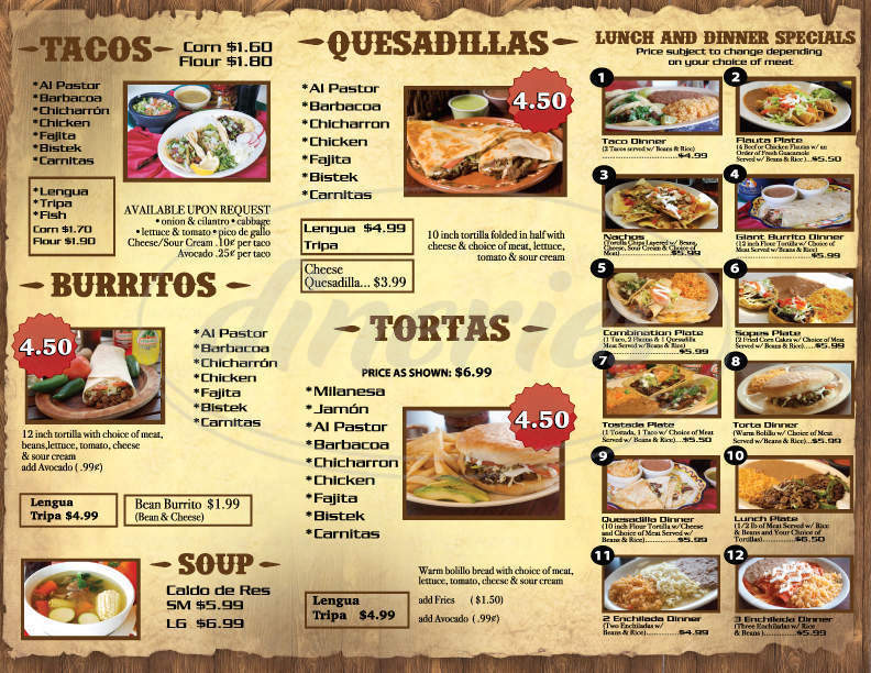 menu for El Paisa