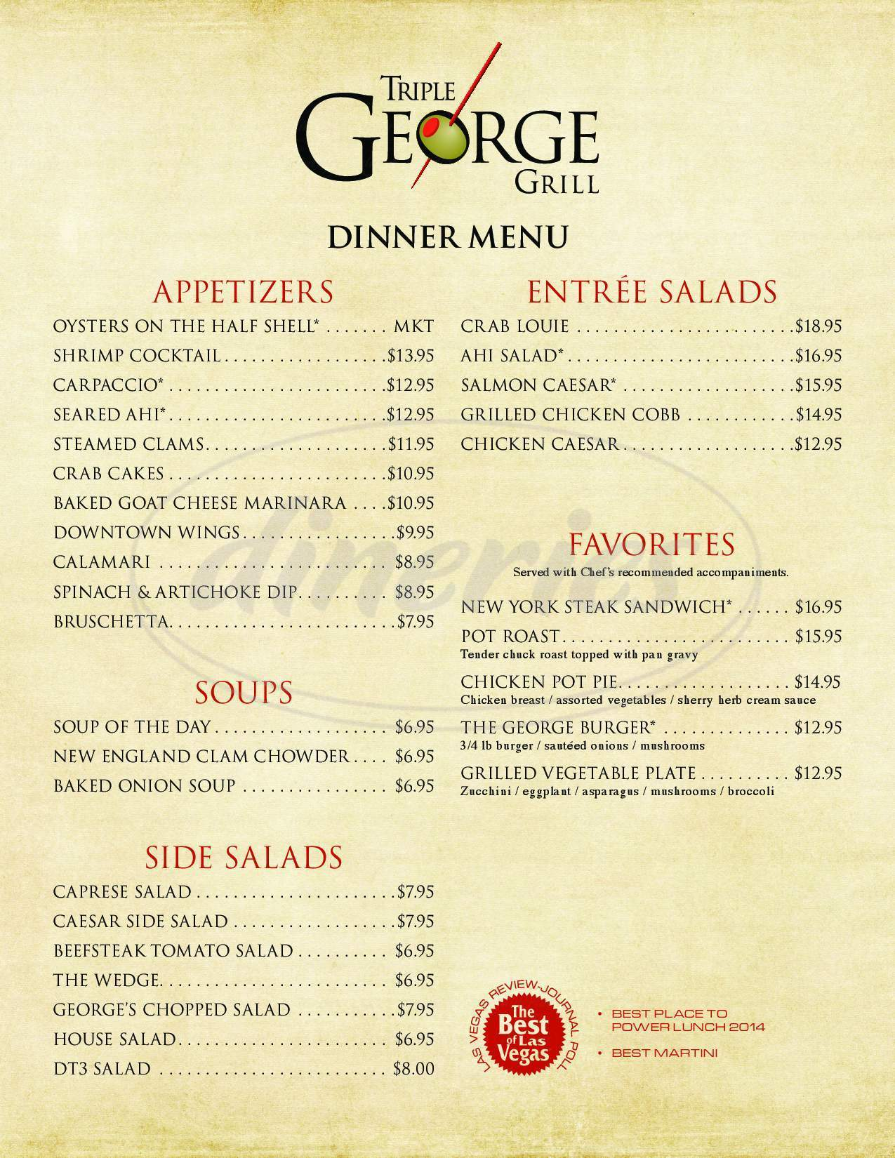 menu for Triple George Grill