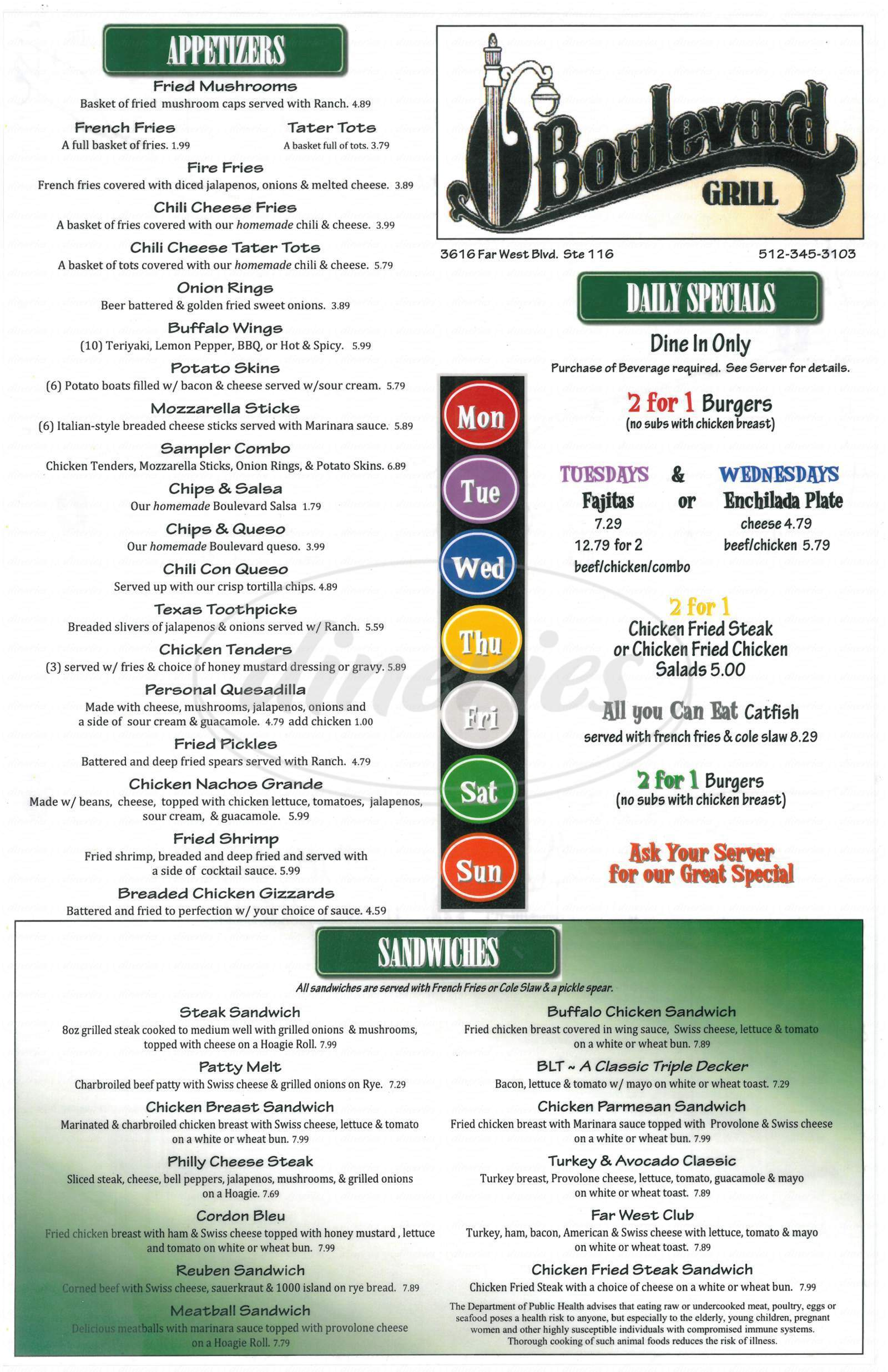 menu for The Boulevard Bar & Grill