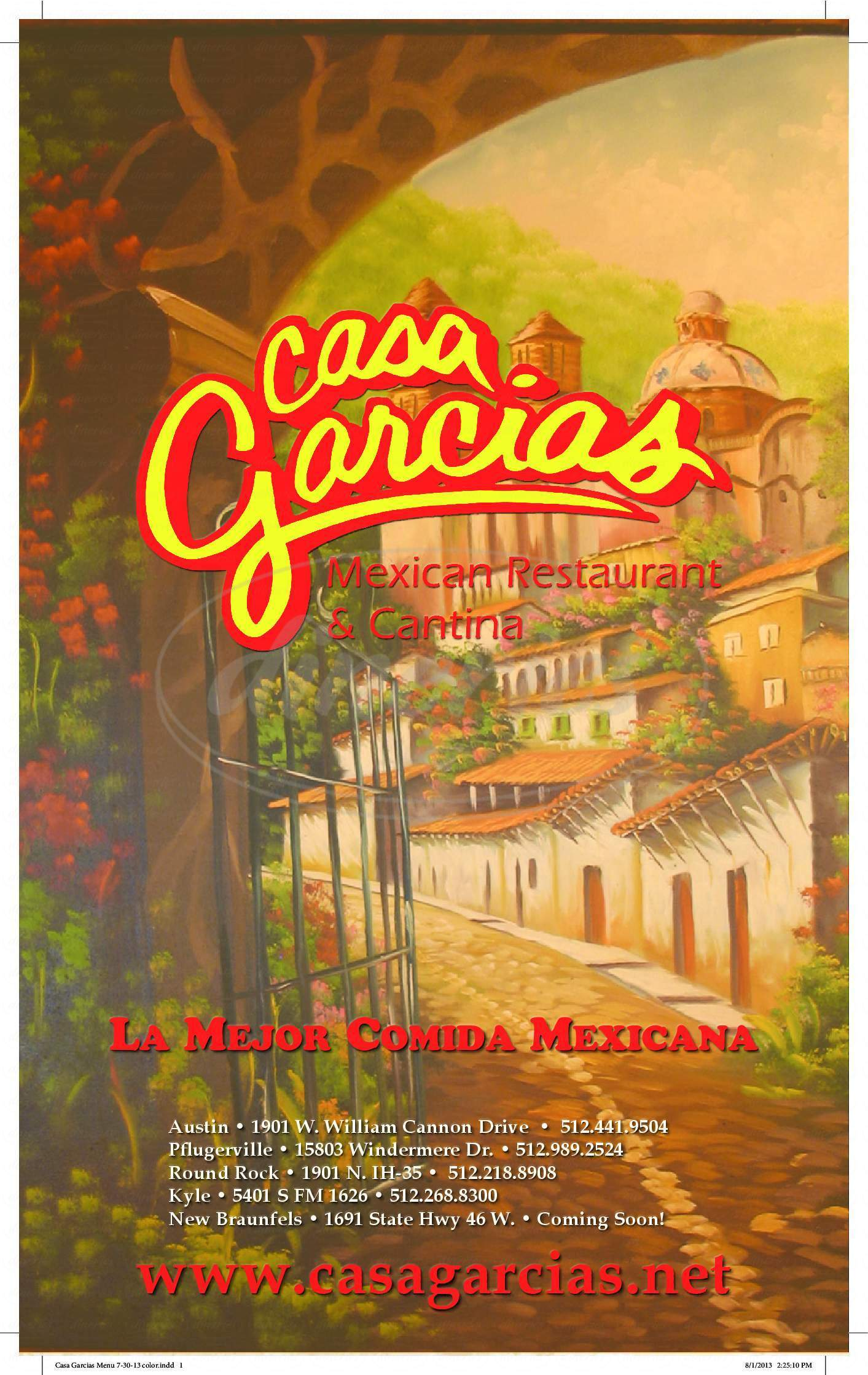 menu for Casa Garcias
