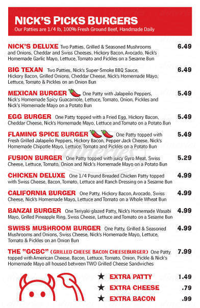 menu for Nick's Jr Burgers and Gyros