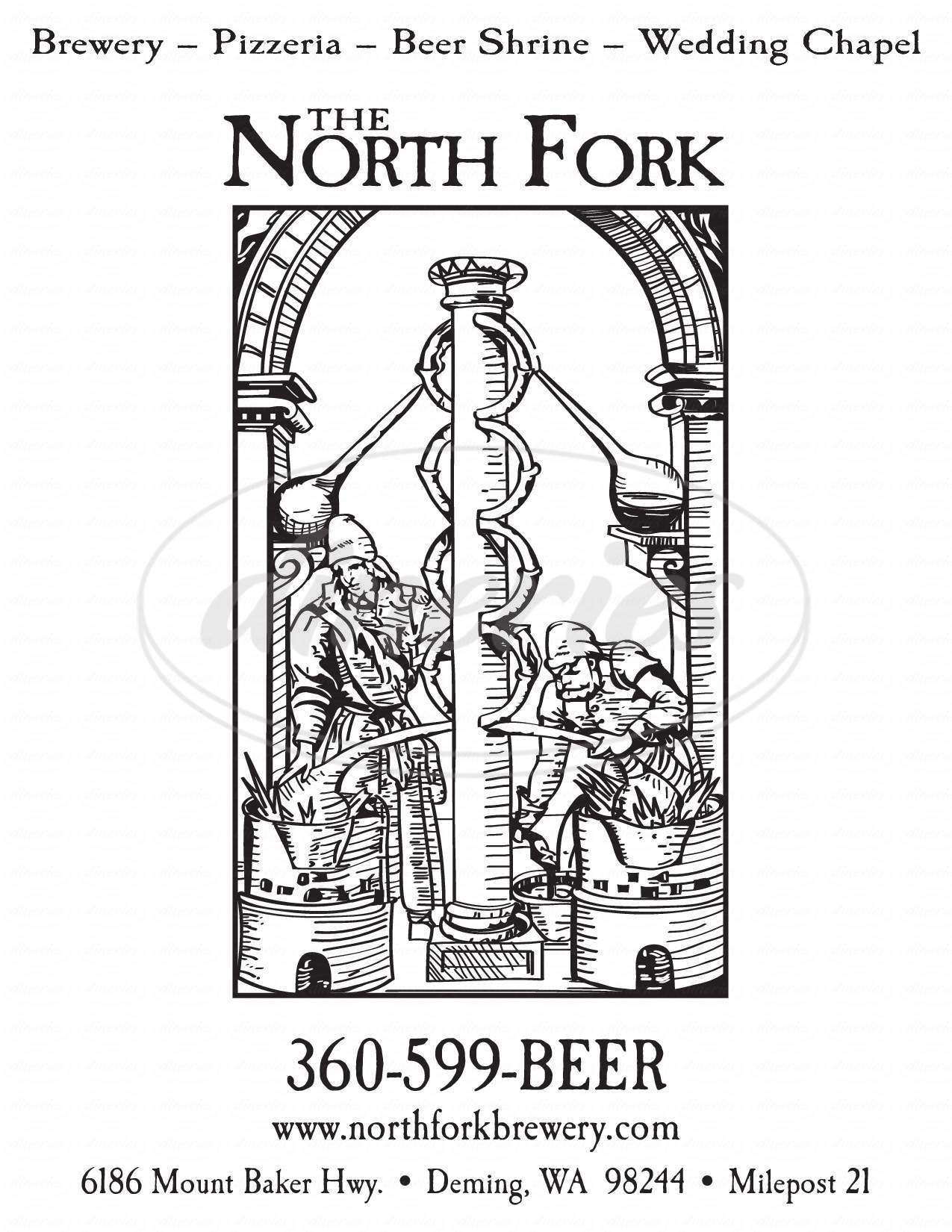 menu for North Fork Brewery