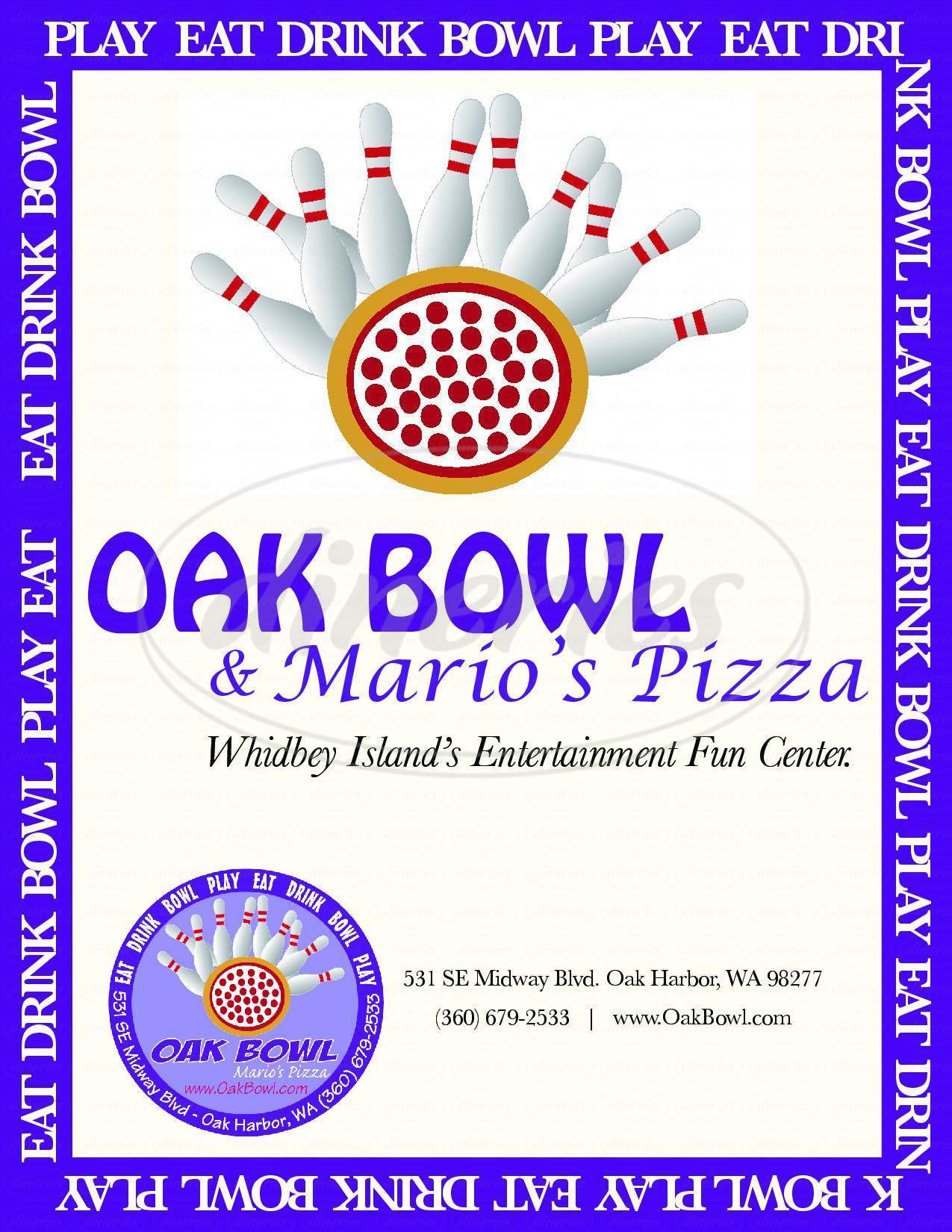 menu for Oak Bowl & Mario's Pizza