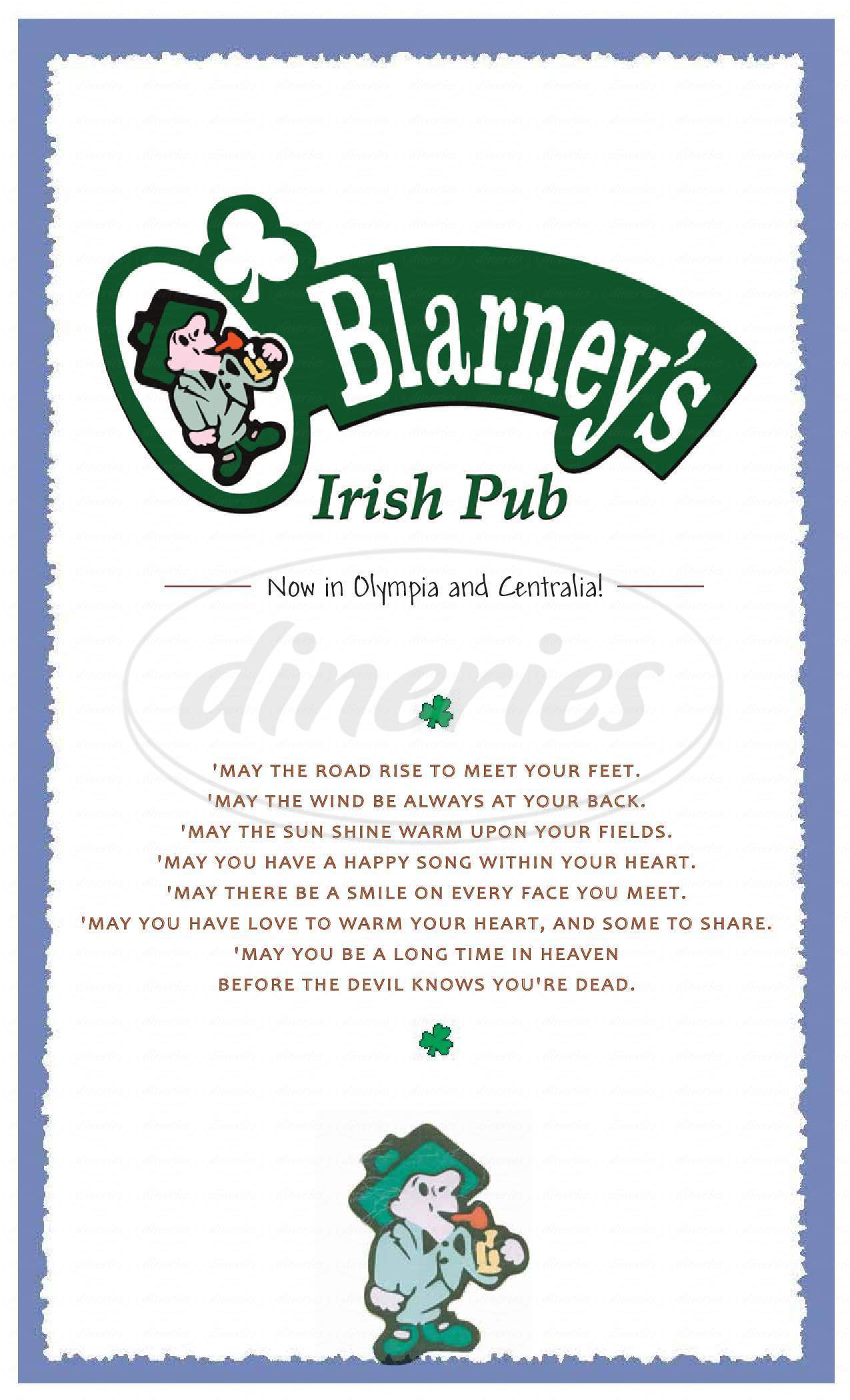 menu for O'Blarney's Irish Pub
