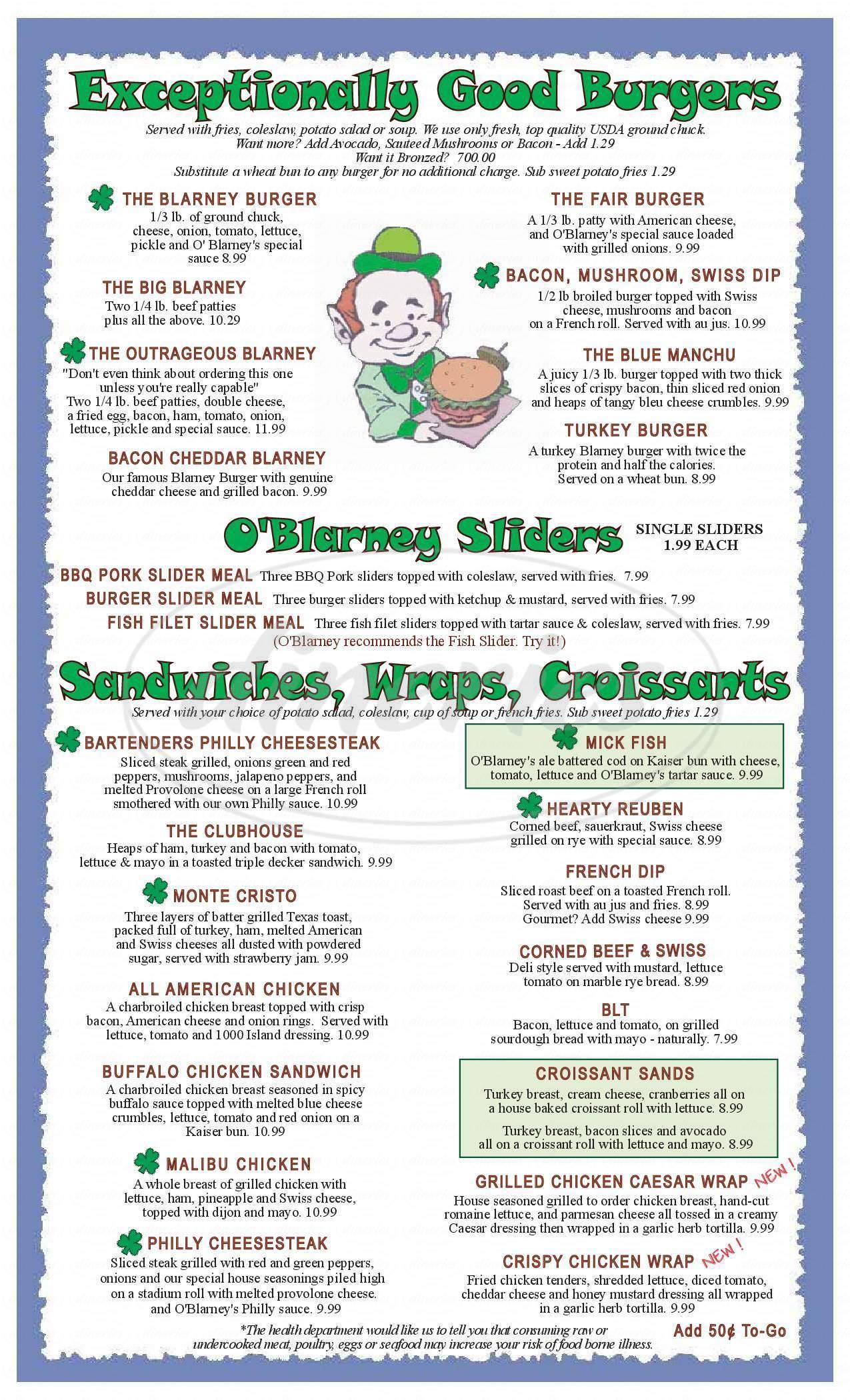 menu for O'Blarney's Irish Pub