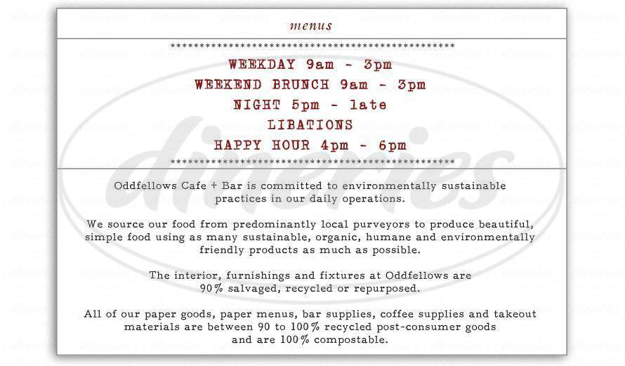 menu for Oddfellows Cafe & Bar