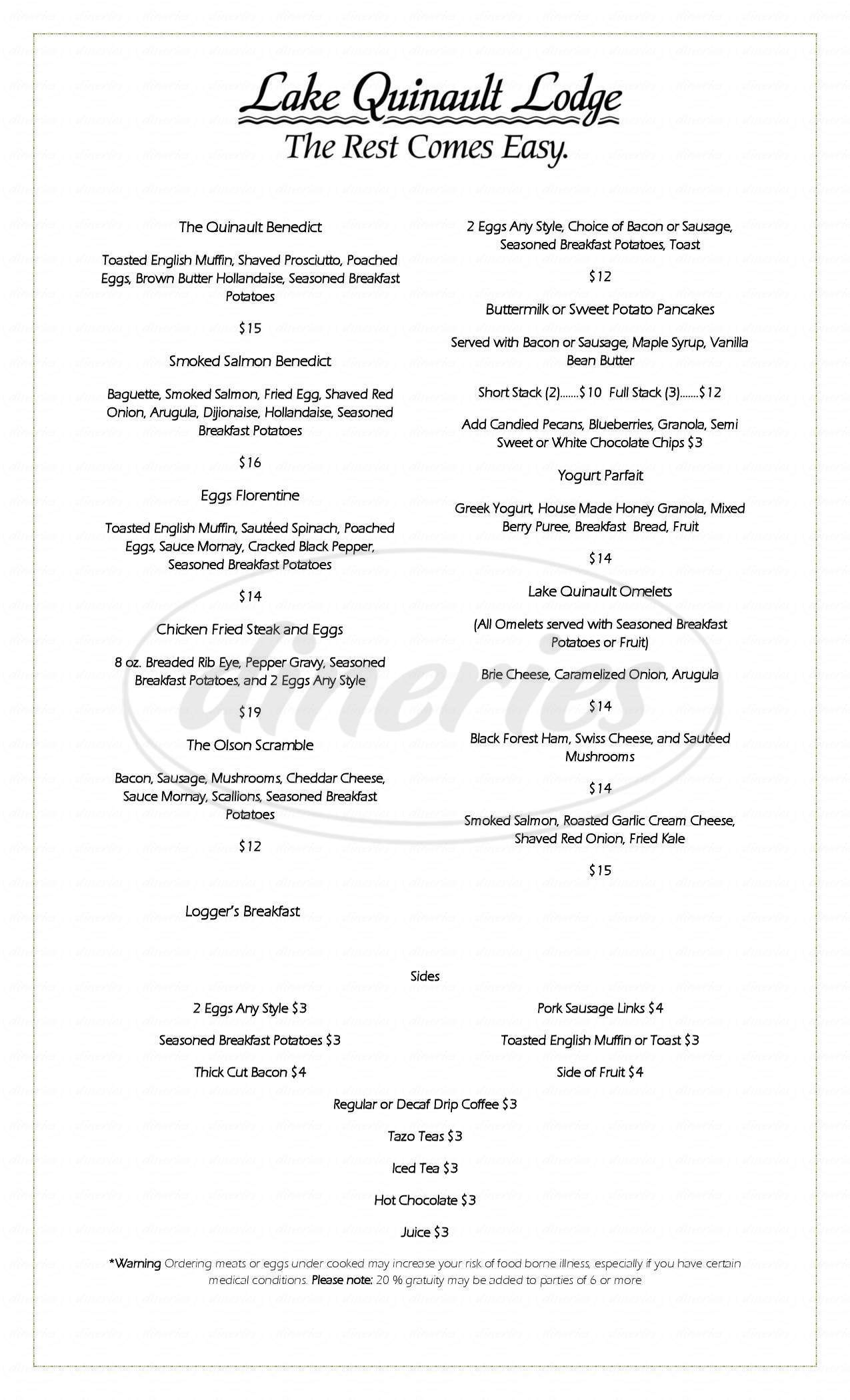menu for Lake Quinault Lodge