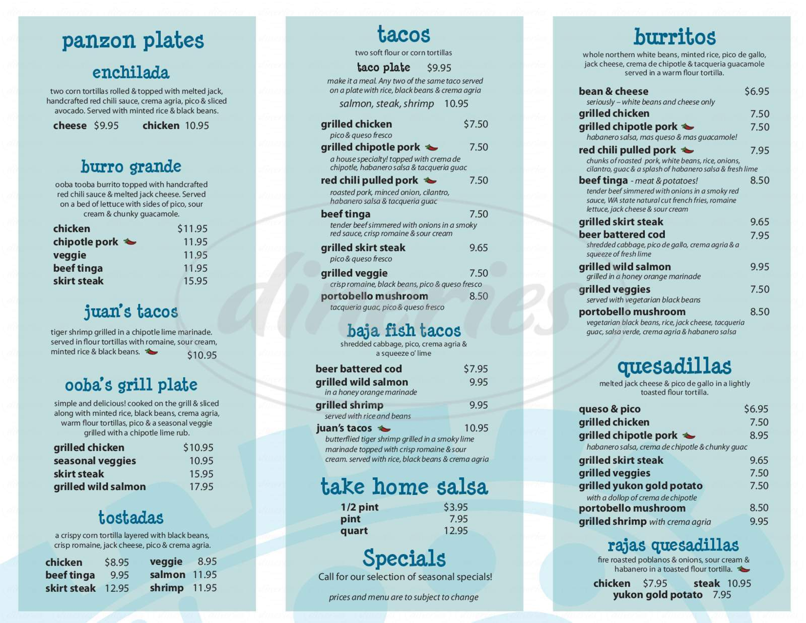 menu for Ooba Tooba Mex Grill