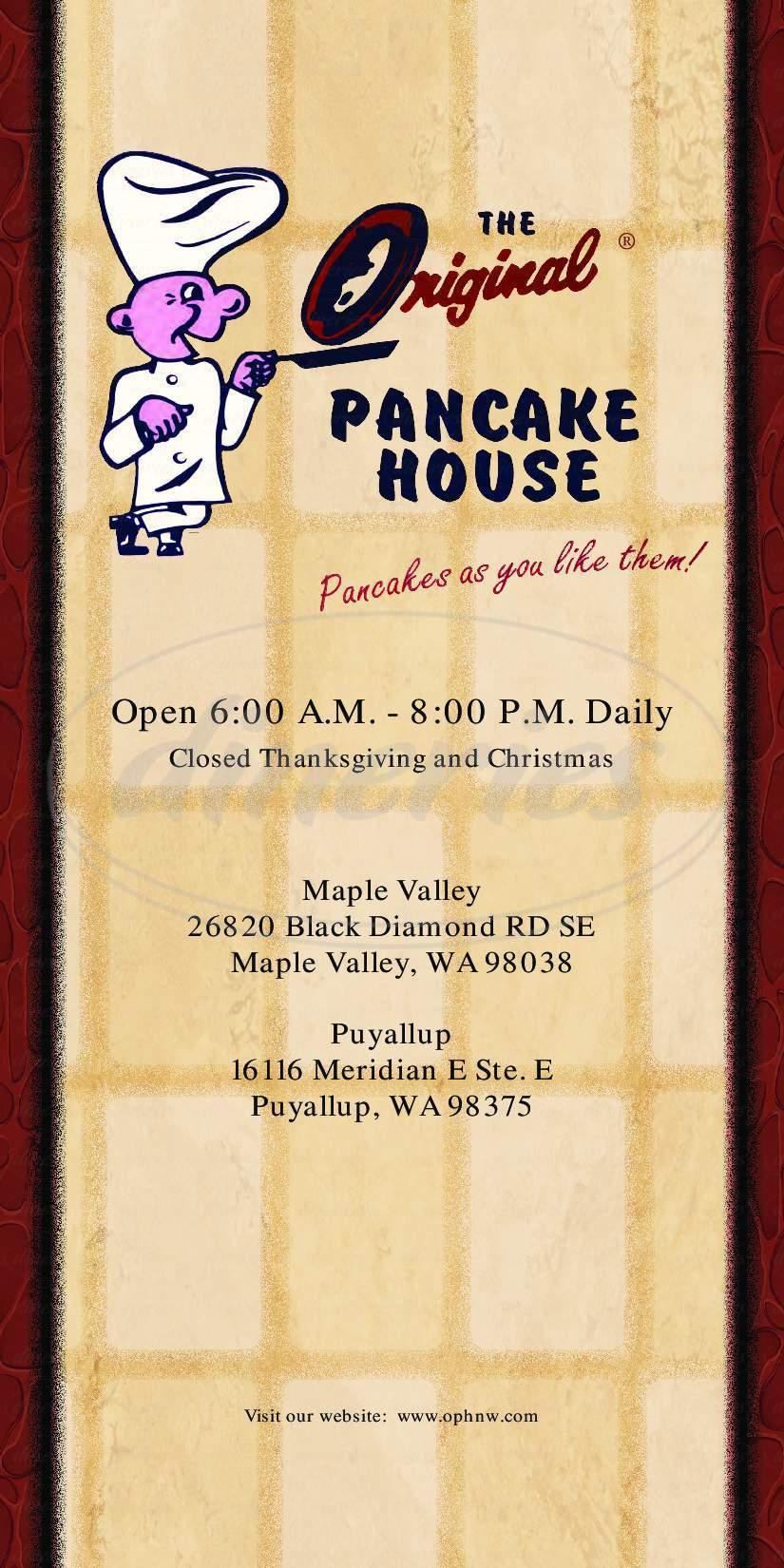 menu for The Original Pancake House