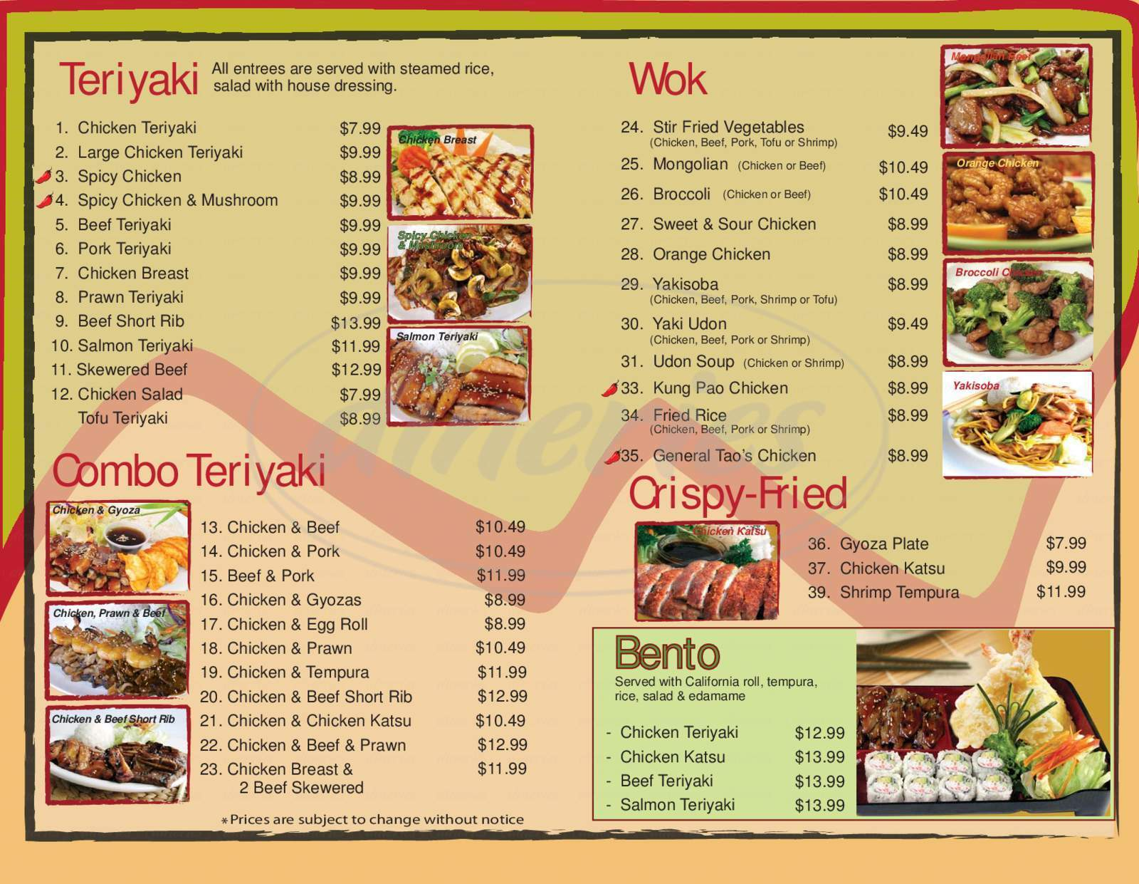 menu for Osaka Grill Teriyaki
