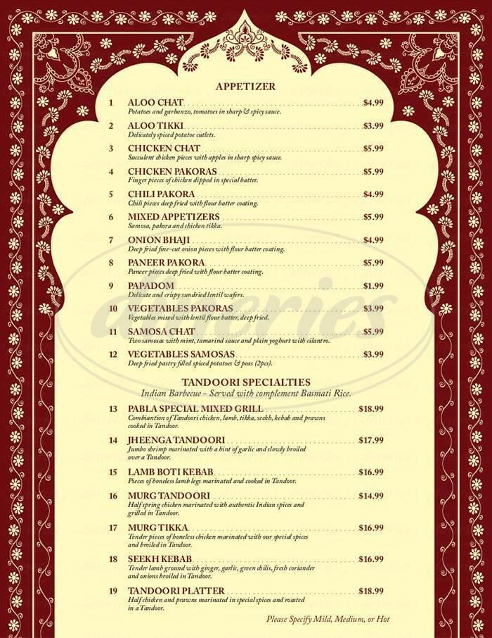 menu for Pabla Punjabi Palace