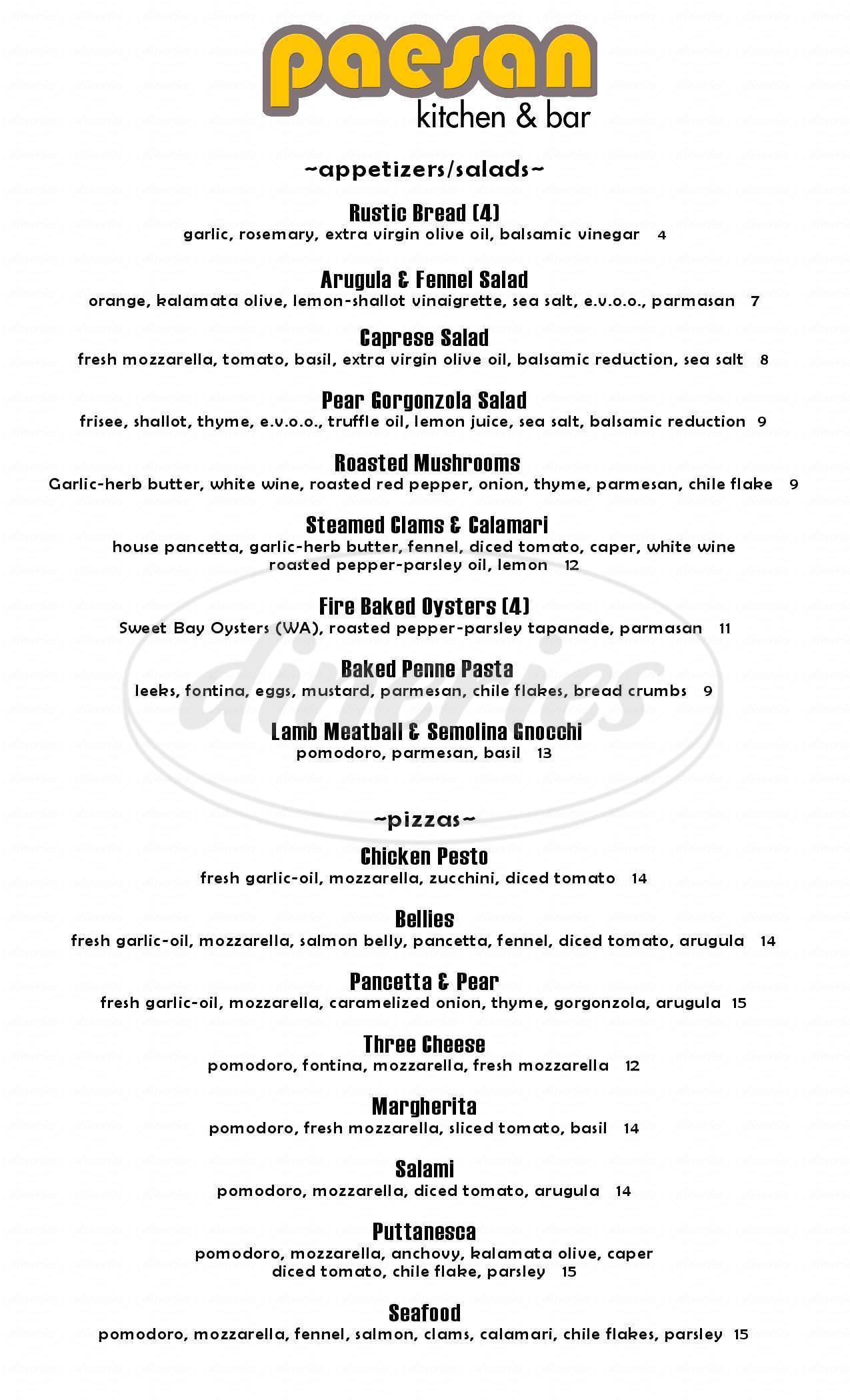 menu for Paesan Kitchen & Bar
