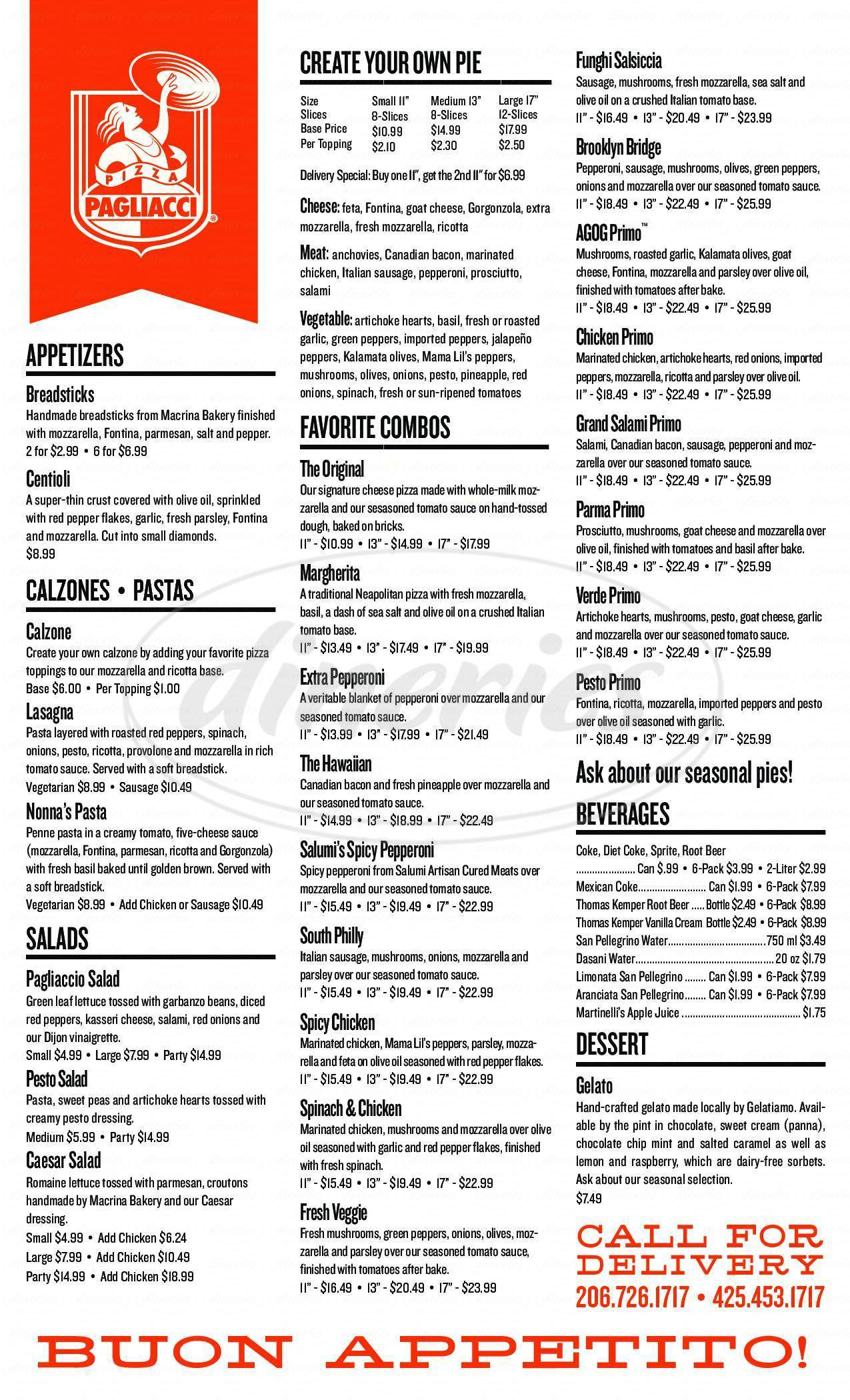 menu for Pagliacci Pizza