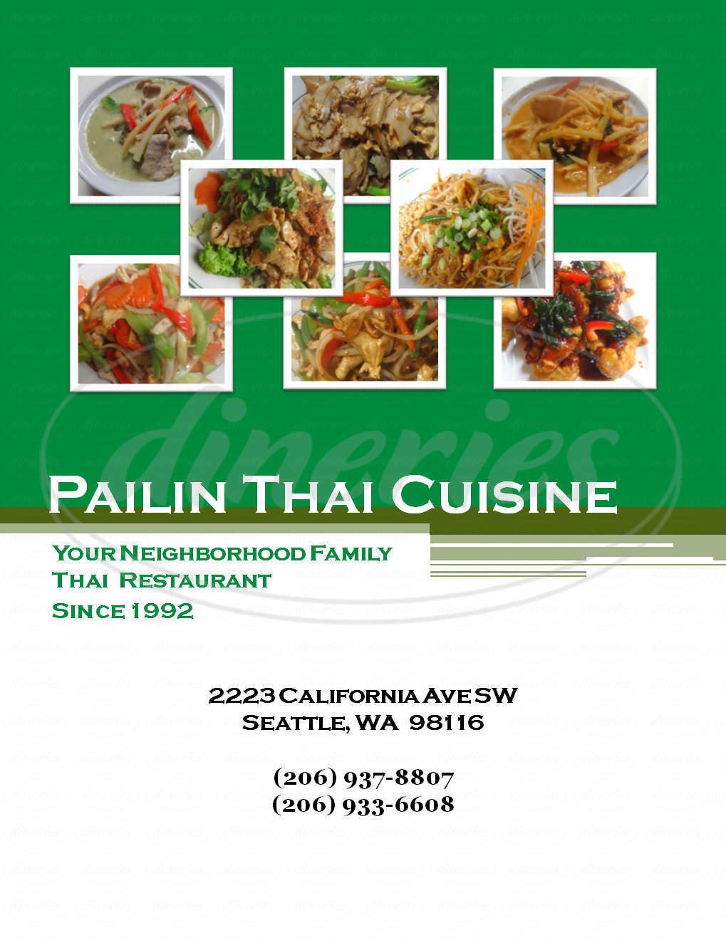 menu for Pailin Thai Cuisine