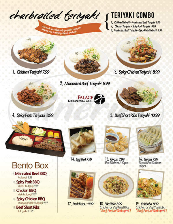 menu for Palace Korean Bar & Grill
