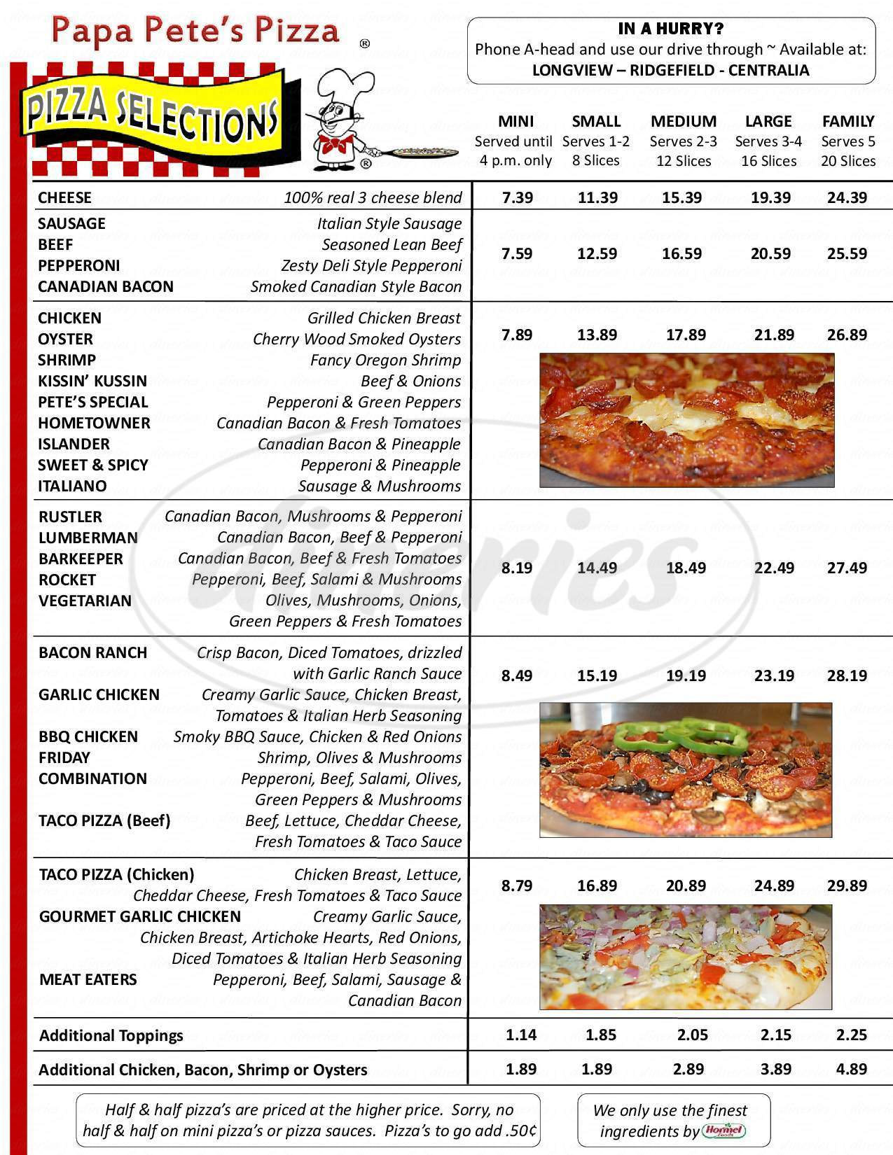 menu for Papa Pete's Pizza