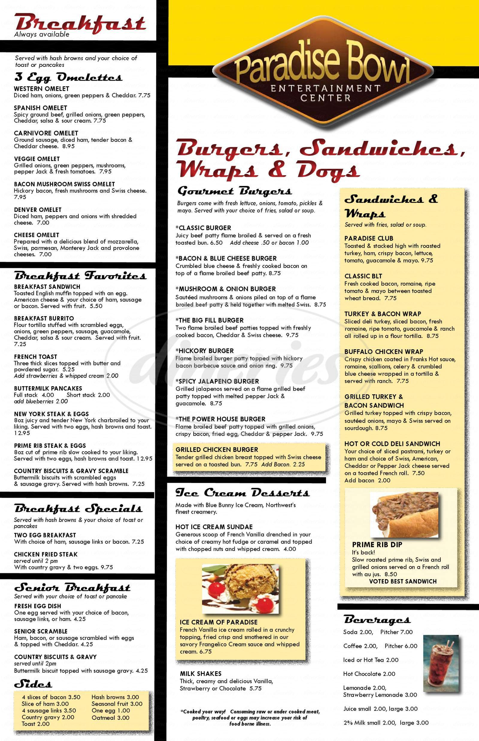 menu for Bull Market Bar and Grill