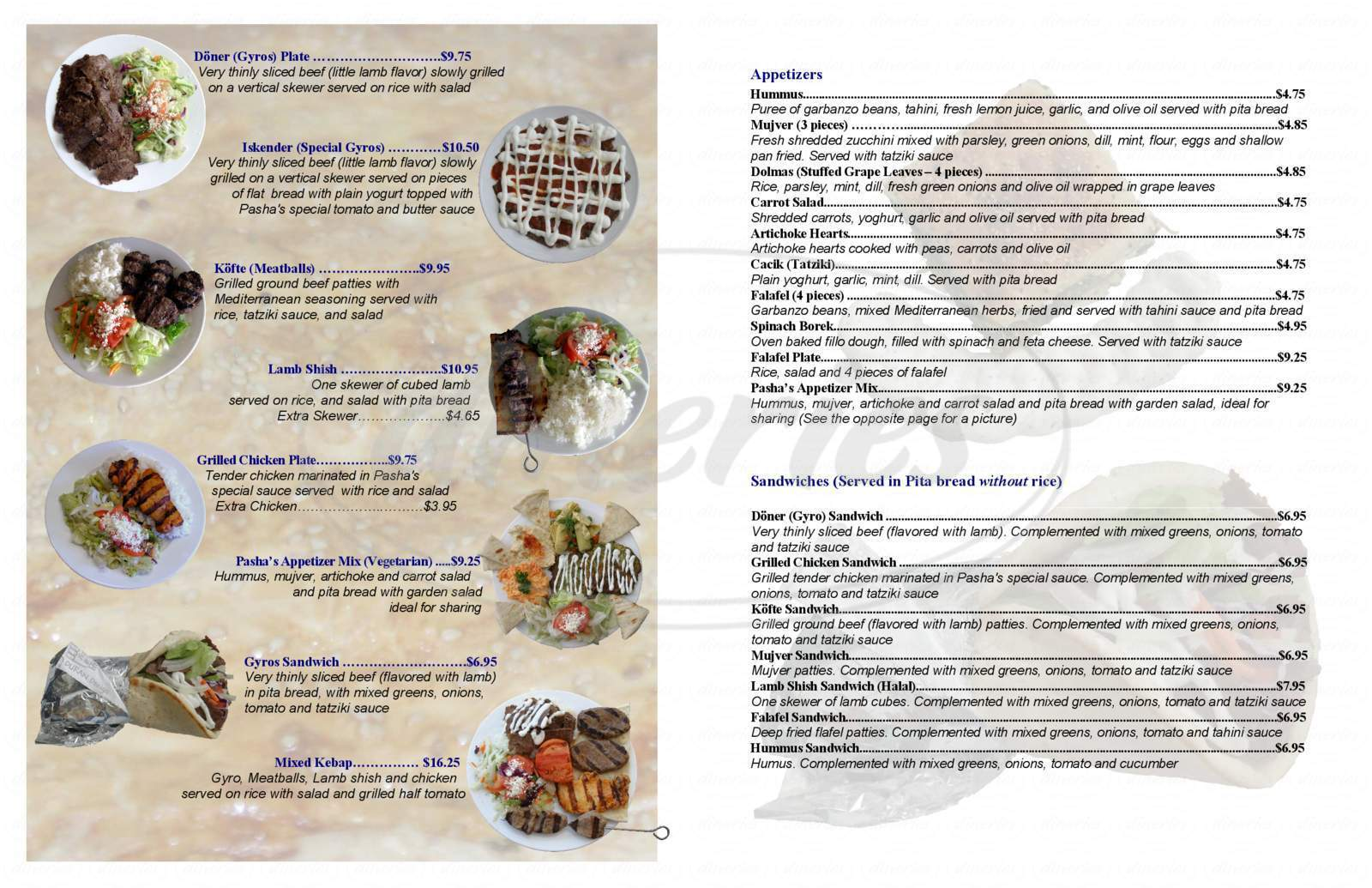 menu for Pasha Grill
