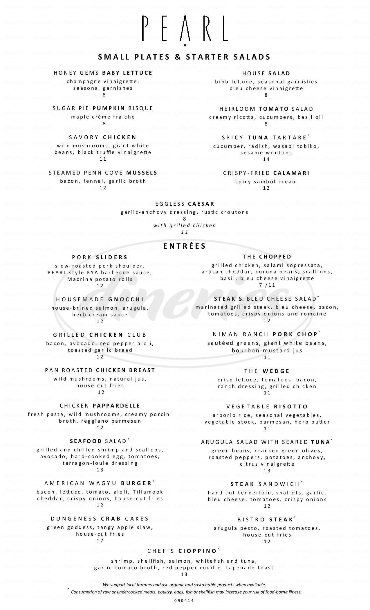 menu for Pearl Bar & Dining