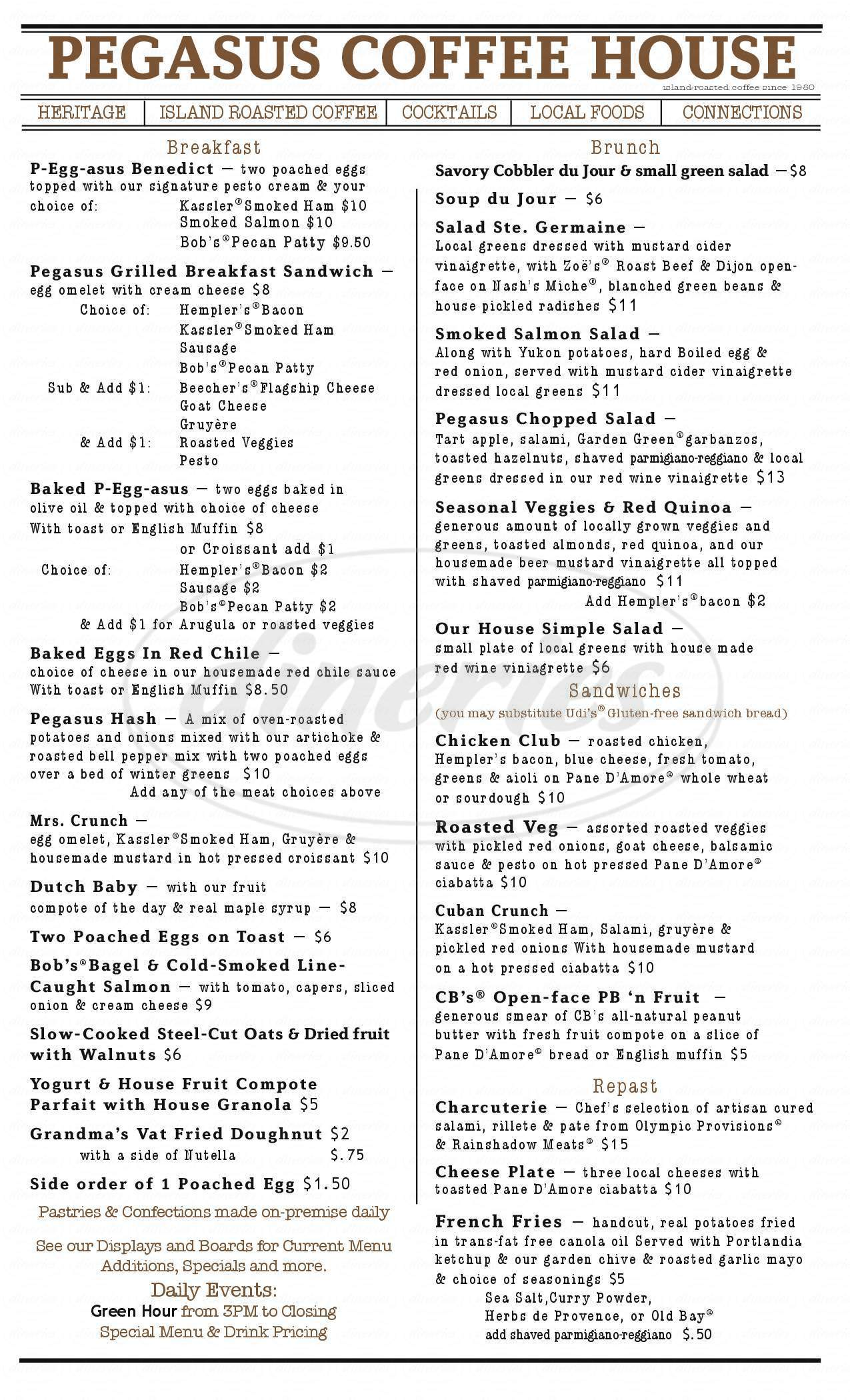 menu for Pegasus Coffee House