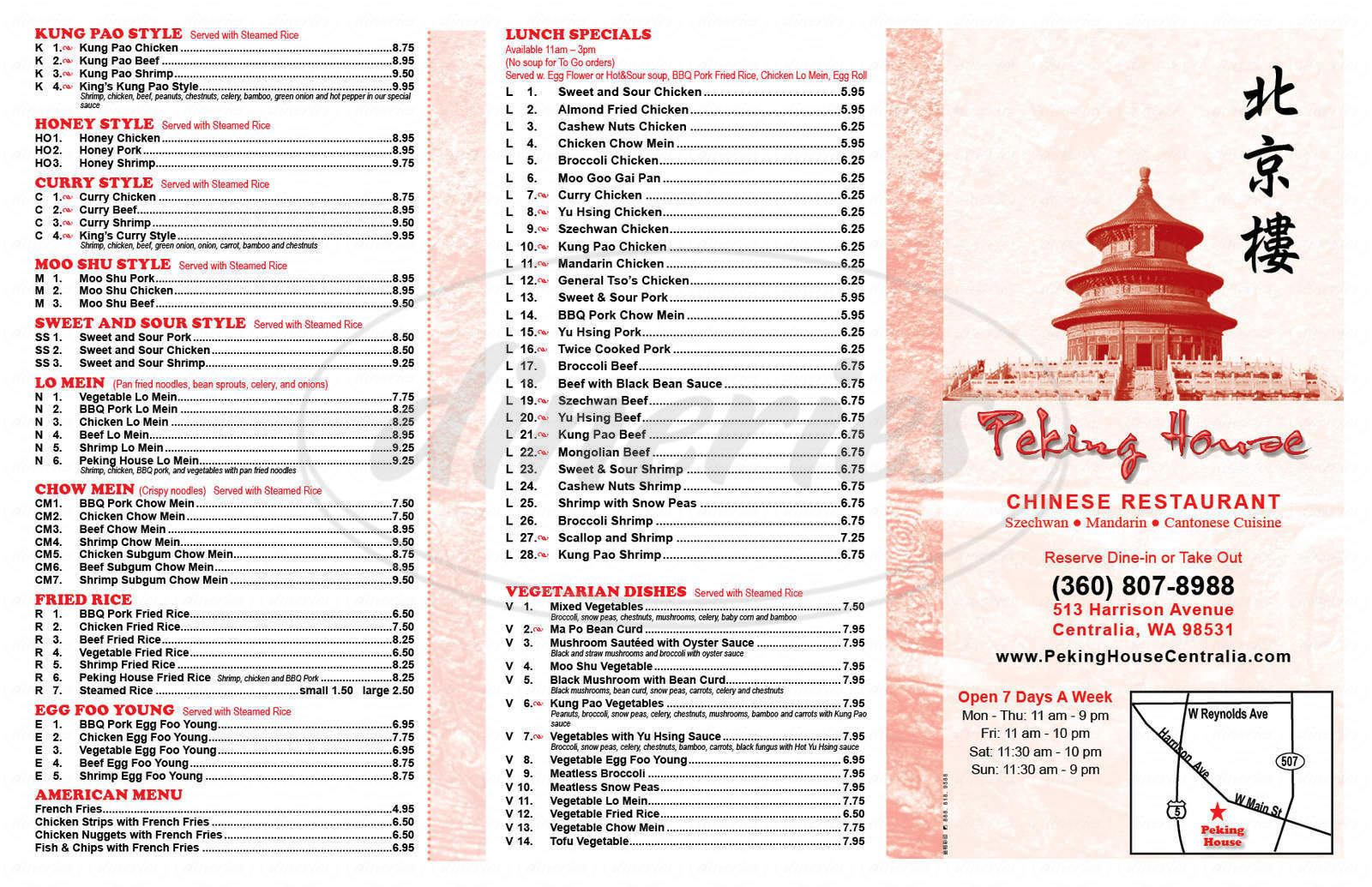 menu for Peking House