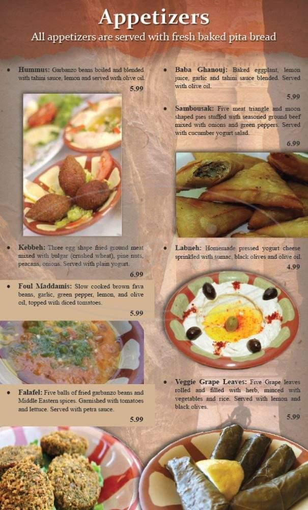 menu for Petra House