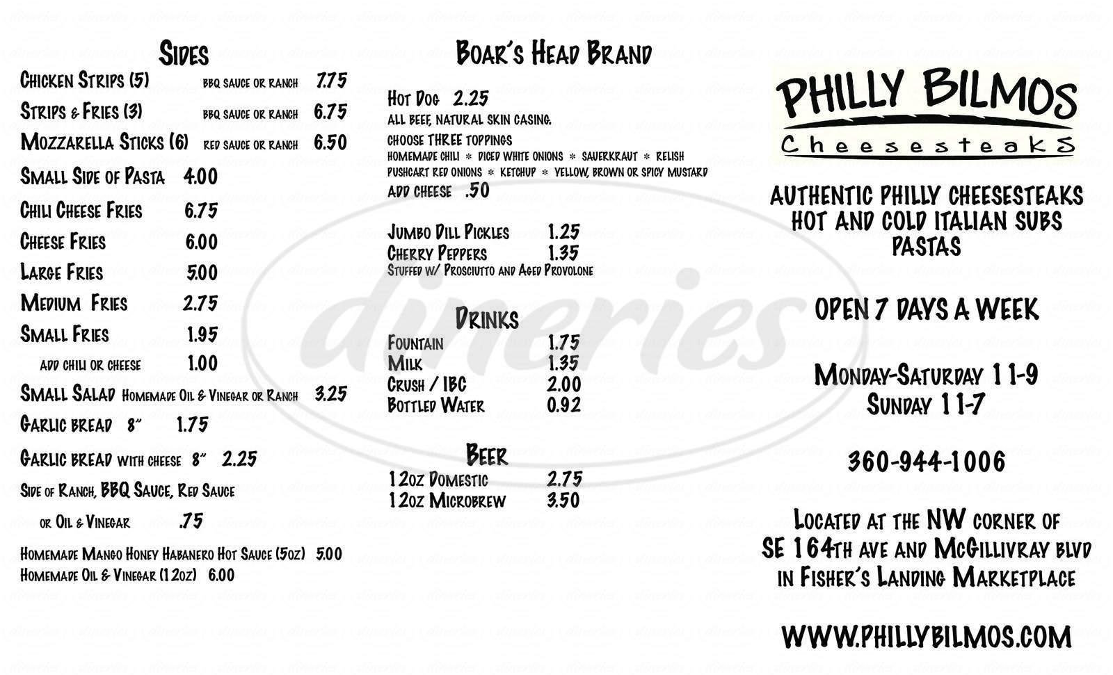 Big menu for Philly Bilmos Cheesesteaks, Vancouver