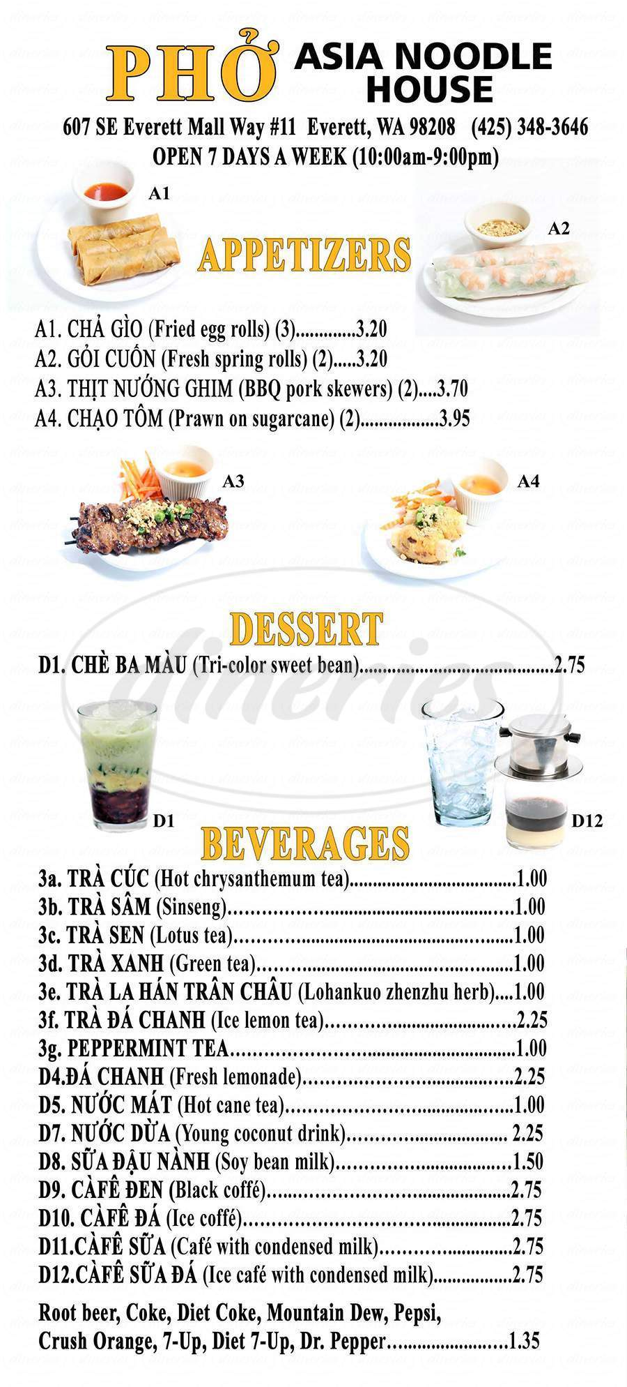 menu for Pho Asia Noodle House