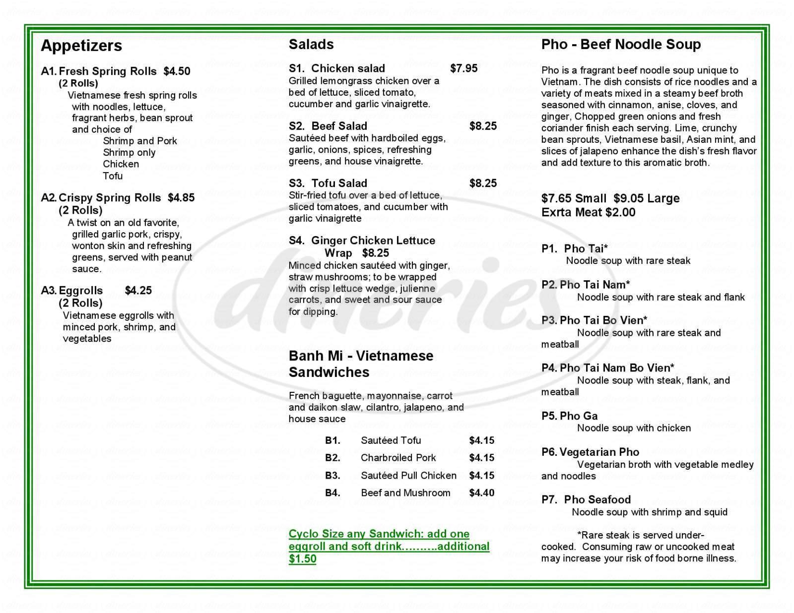 menu for Pho Cyclo Café