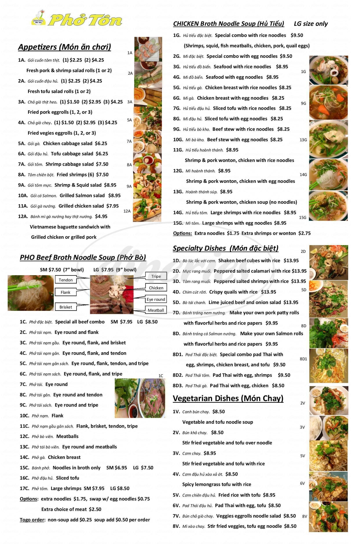 menu for Pho Ton