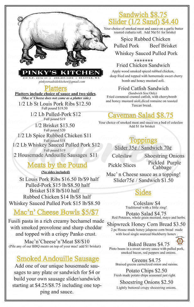 menu for Pinky's Kitchen