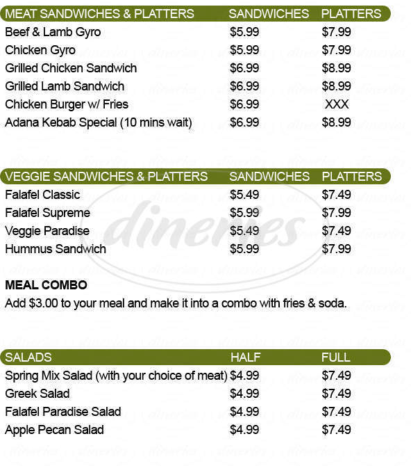 menu for Pita Bite