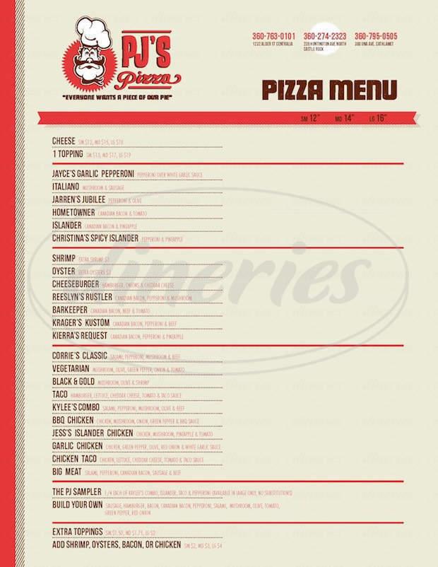 menu for PJ's Pizza