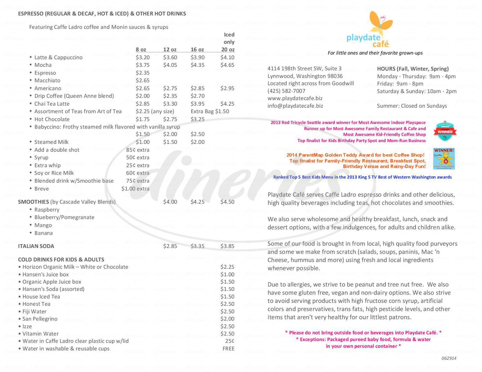 menu for Playdate Cafe