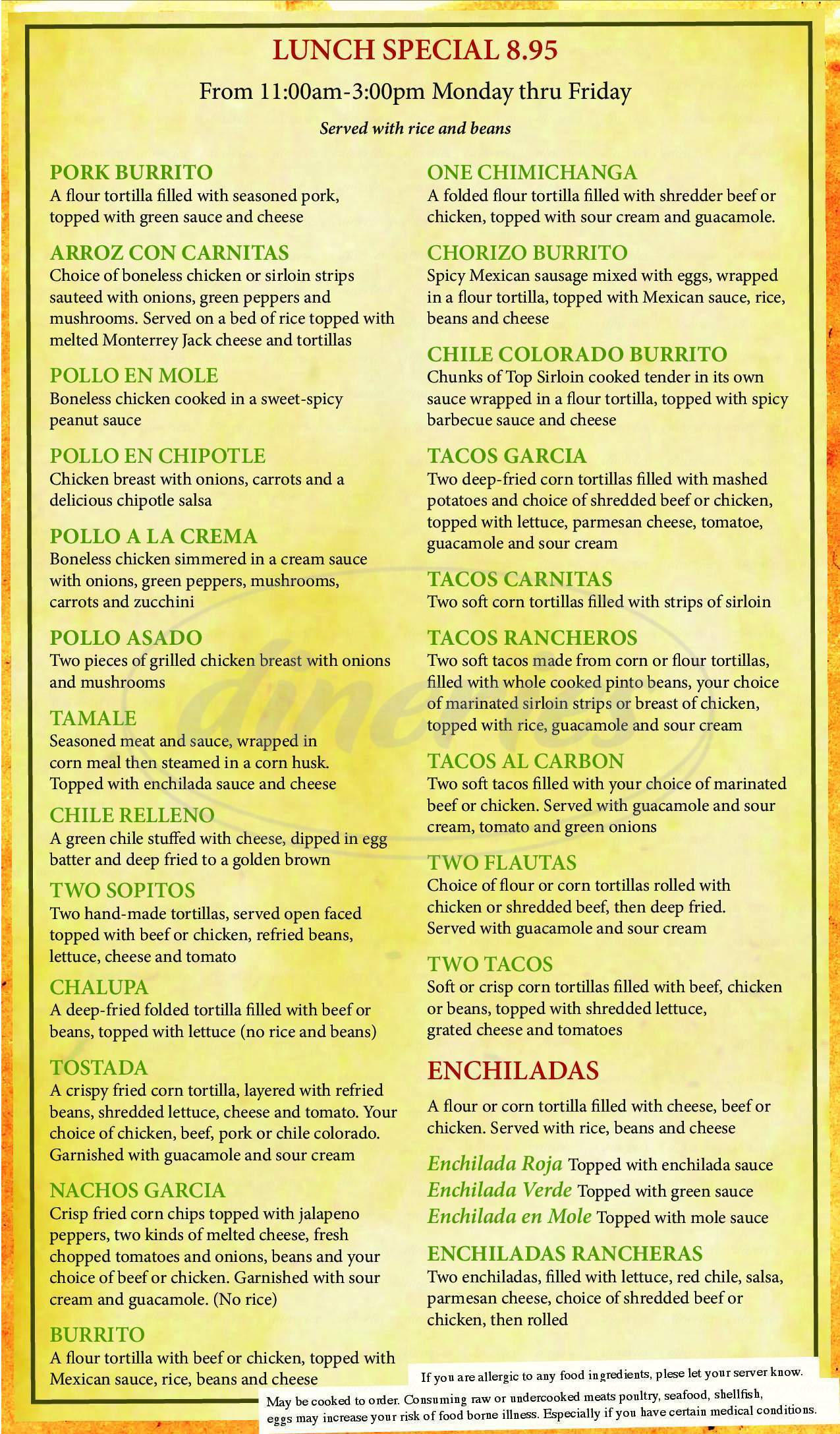 menu for Plaza Garcia Family Mexican Restaurant