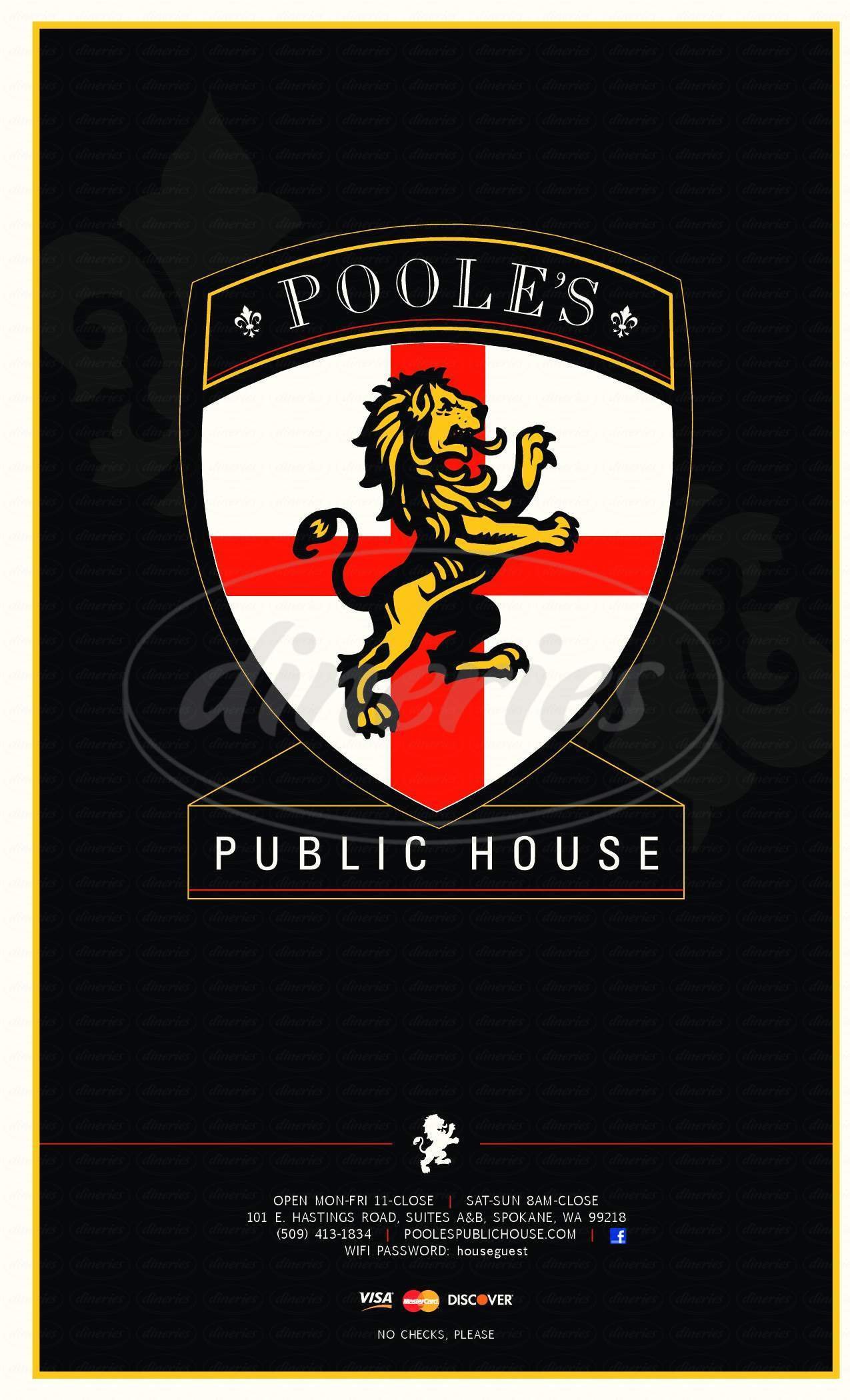 menu for Poole's Public House