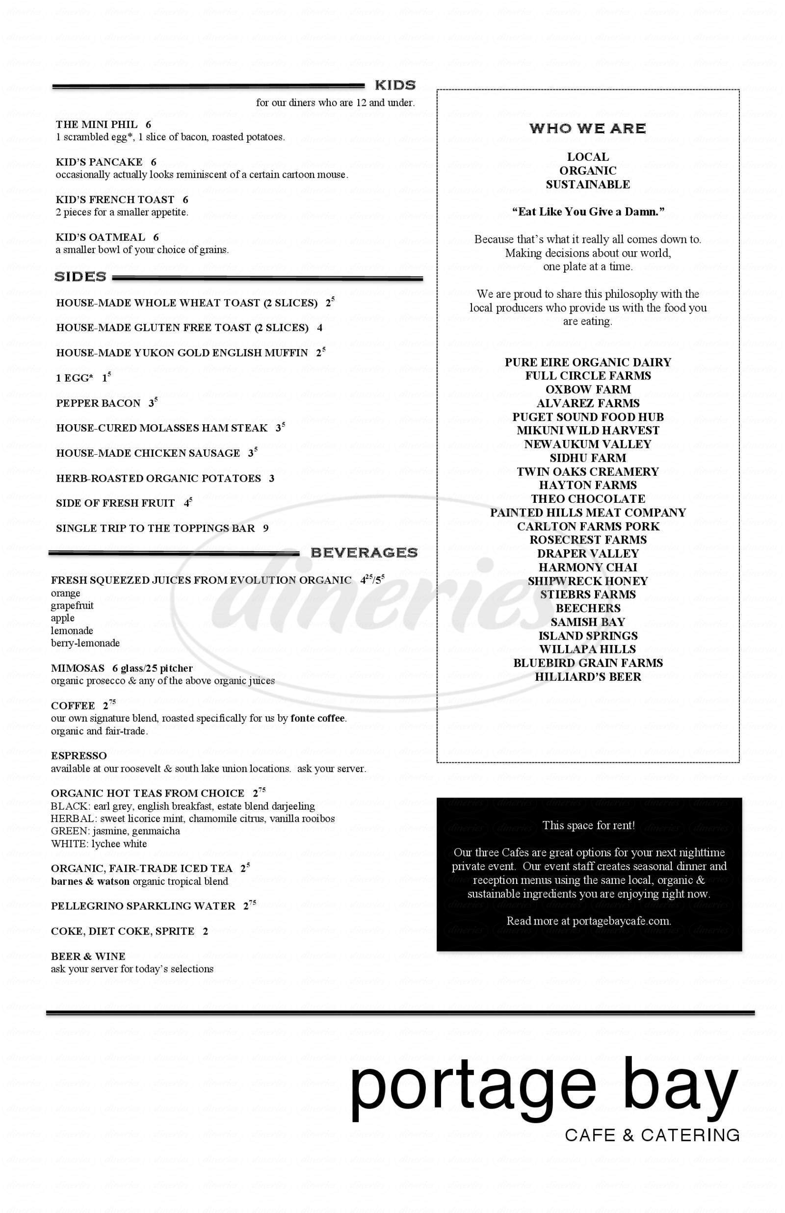 menu for Portage Bay Café & Catering