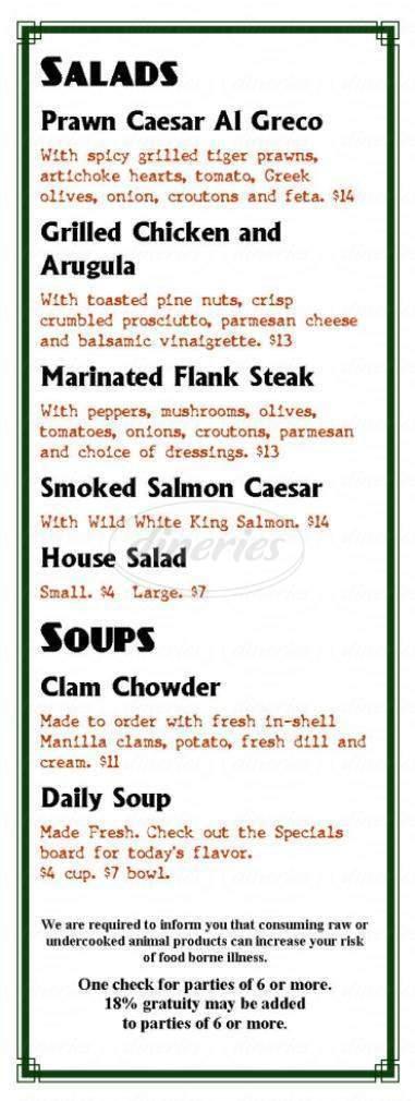 menu for The Porterhouse