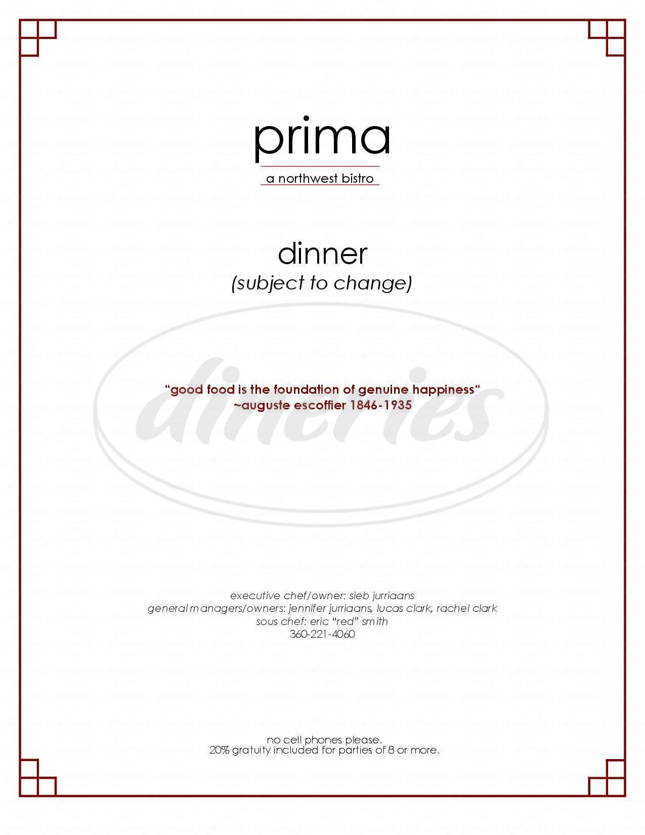 menu for Prima Bistro