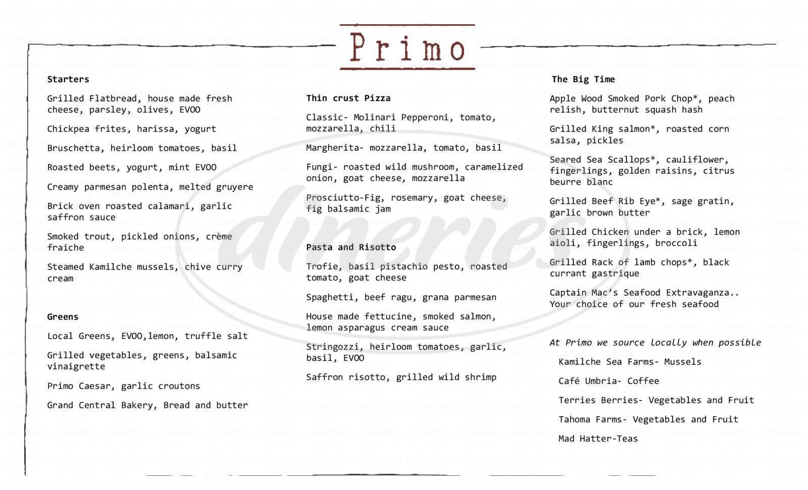 menu for Primo Grill