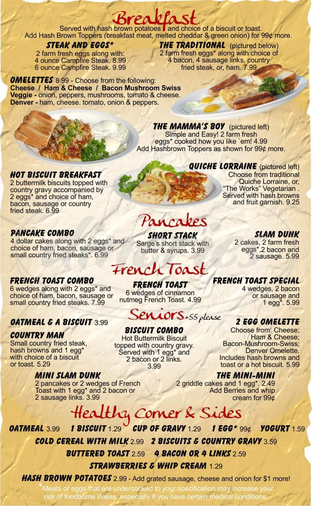 menu for Prospector Pies