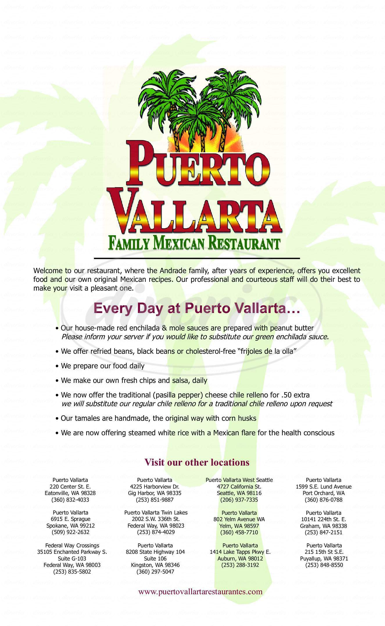 Big menu for Puerto Vallarta, Puyallup