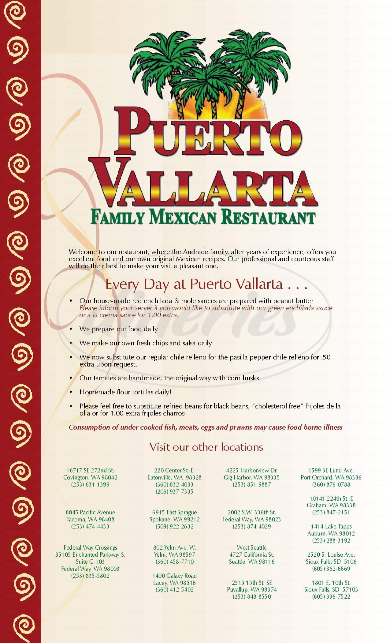 menu for Puerto Vallarta Restaurant