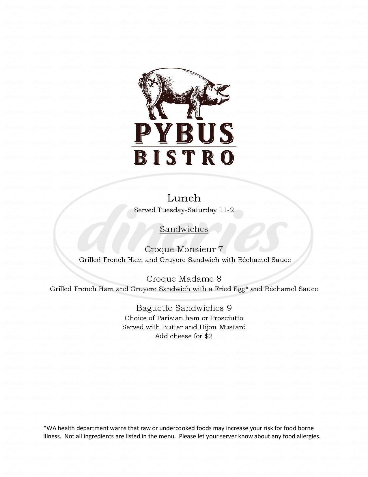 menu for Pybus Bistro