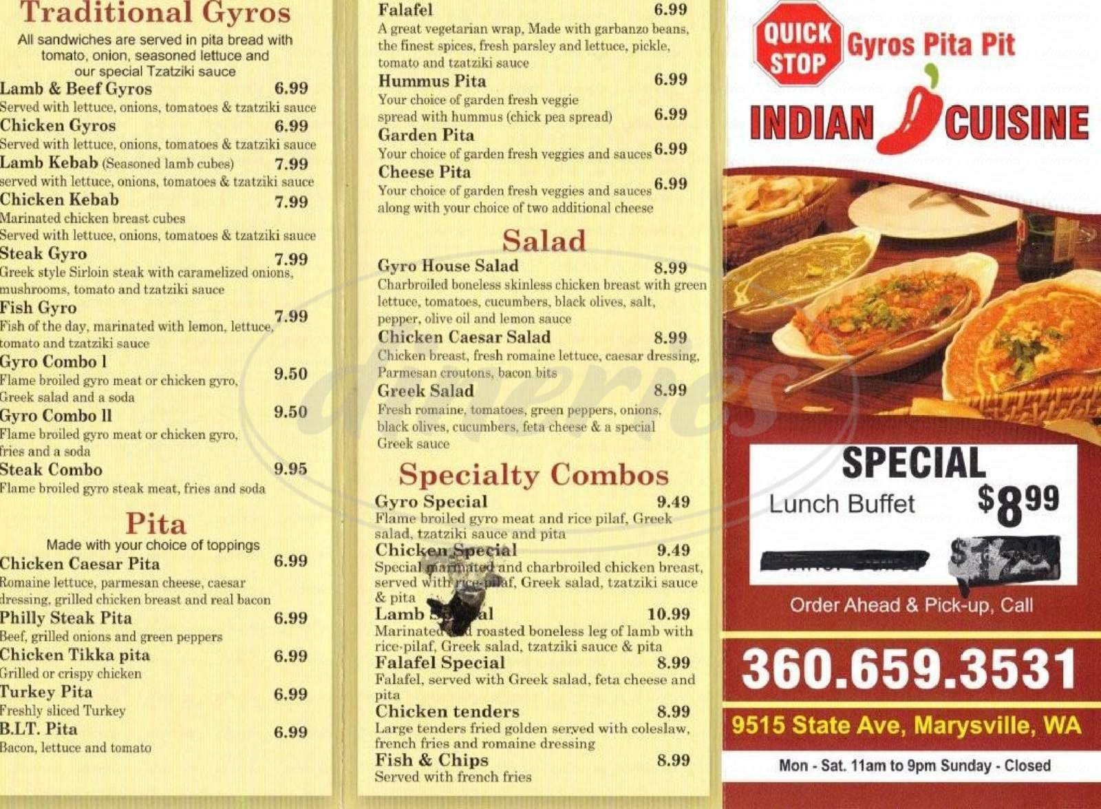 menu for Quick Stop Gyro Pita Pit and Indian Cuisine