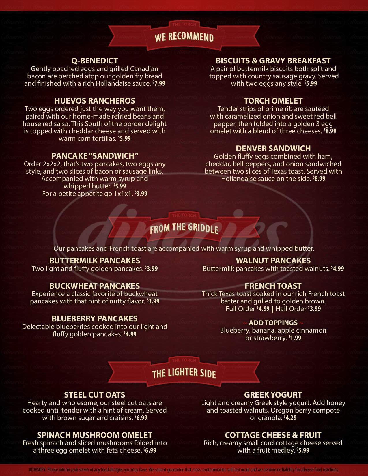menu for The Torch Grill