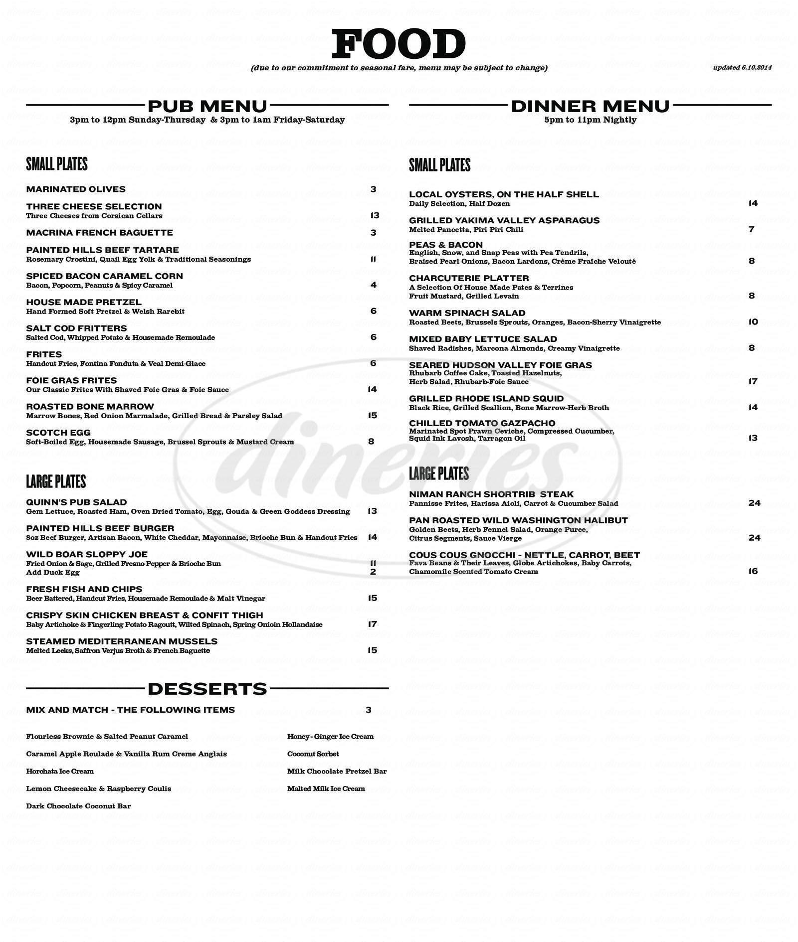 menu for Quinn's