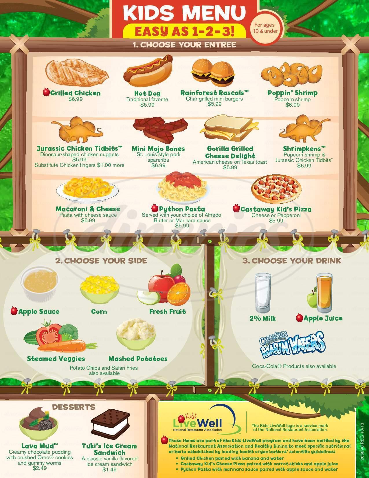 menu for Rainforest Cafe