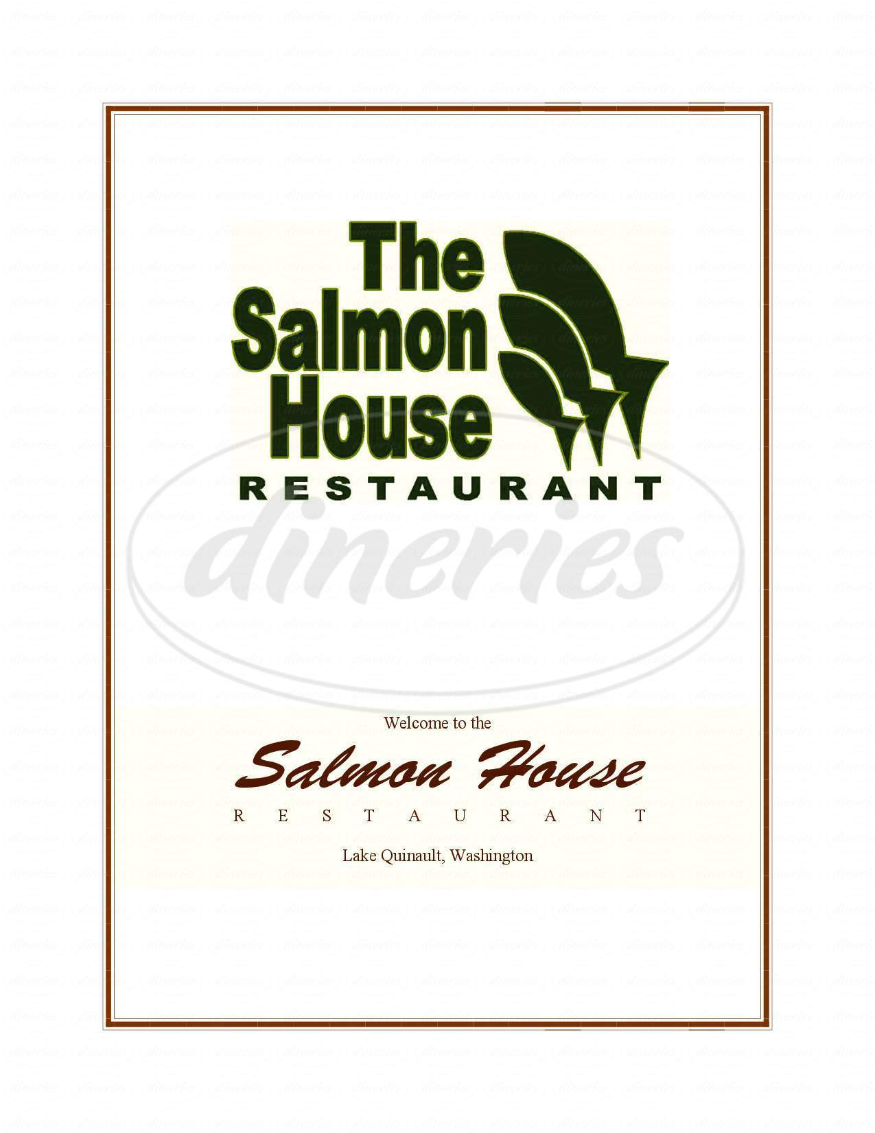 menu for Salmon House Restauraunt