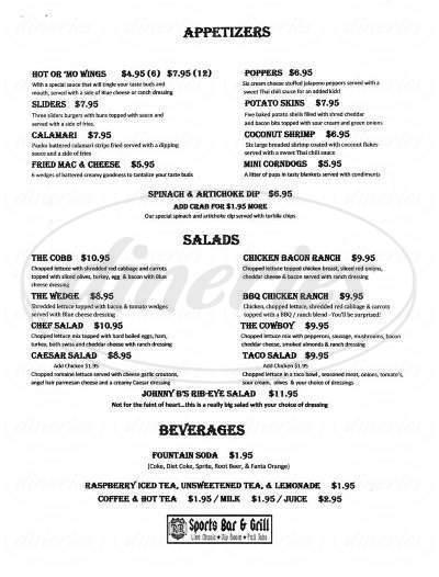 menu for R & R Live